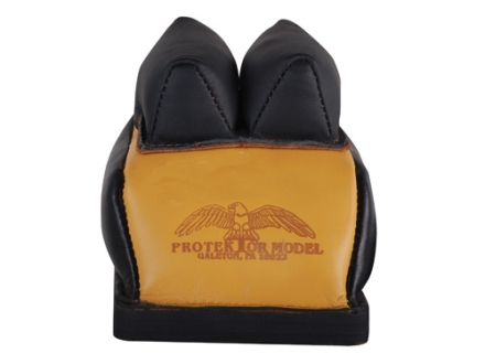 Protektor Deluxe Double Stitched Mid-Ear Rear Shooting Rest Bag with Heavy Doughnut Bottom Leather Black and Yellow Filled