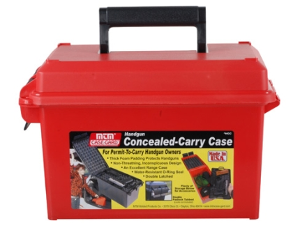 MTM Handgun Concealed-Carry Case Red Plastic