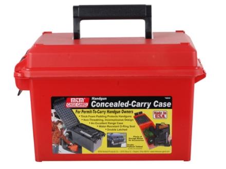 MTM Handgun Concealed-Carry Pistol Case Red Plastic