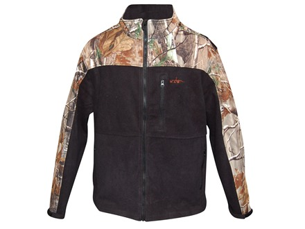 Habit Men's Softshell Fleece Jacket Polyester Black and Reatlree AP Camo Medium 38-40