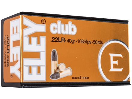 Eley Club Ammunition 22 Long Rifle 40 Grain Lead Round Nose Box of 50