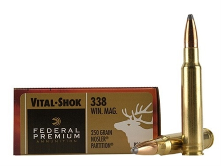 Federal Premium Vital-Shok Ammunition 338 Winchester Magnum 250 Grain Nosler Partition Box of 20