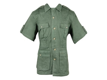 Boyt Men's Shumba Safari Jacket Short Sleeve Cotton Green Large 42-44