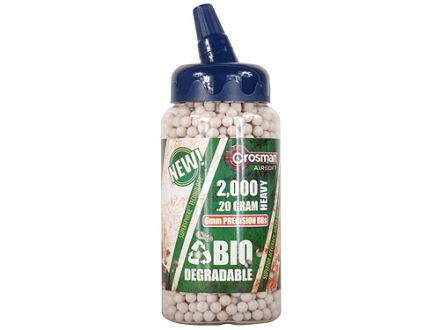 Crosman Airsoft BBs 6mm .20 Gram Biodegradable Green Bottle of 2,000