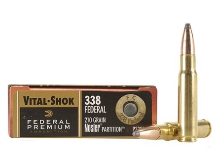 Federal Premium Vital-Shok Ammunition 338 Federal 210 Grain Nosler Partition Box of 20