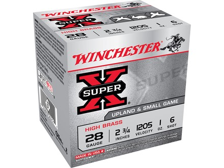 "Winchester Super-X High Brass Ammunition 28 Gauge 2-3/4"" 1 oz #6 Shot Box of 25"