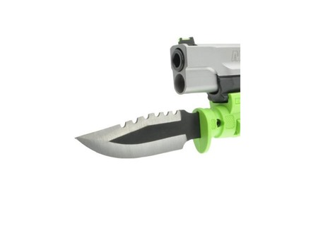LaserLyte Pistol Bayonet KA-BAR Mini-Survival Knife Serrated Stainless Steel Blade with Quick-Detachable Picatinny-Style Mount and Polymer Sheath
