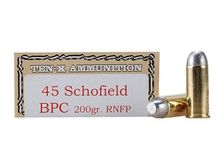 Ten-X Cowboy Ammunition 45 S&W Schofield 200 Grain Round Nose Flat Point BPC Box of 50