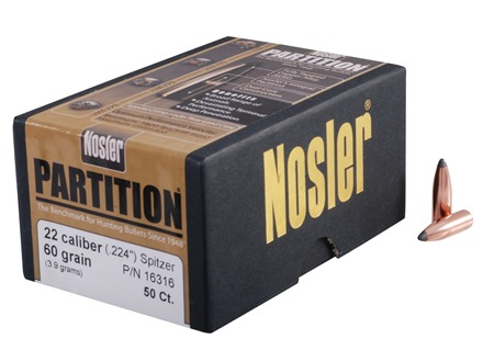Nosler Partition Bullets 22 Caliber (224 Diameter) 60 Grain Spitzer Box of 50