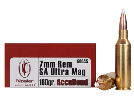 Nosler Trophy Grade Ammunition 7mm Remington Short Action Ultra Magnum 160 Grain AccuBond Box of 20
