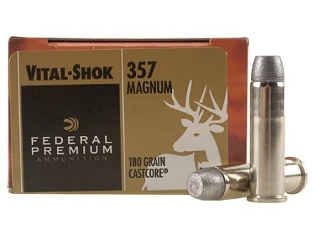 Federal Premium Vital-Shok Hunting Ammunition 357 Magnum 180 Grain CastCore Flat Point Box of 20