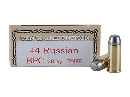 Ten-X Cowboy Ammunition 44 Russian 200 Grain Lead Round Nose Flat Point BPC Box of 50