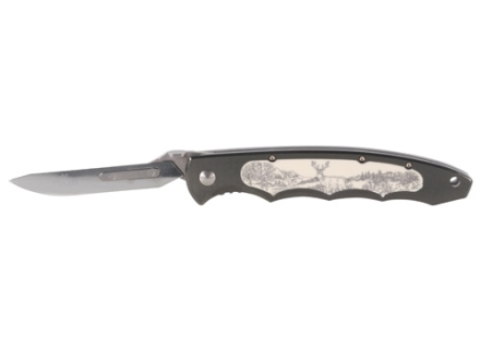Havalon Piranta Whitetail Folding Skinning Knife Aluminum Handle Black