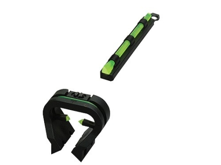 HIVIZ TriViz Turkey Sight Set for Shotguns with Vent Rib & Removable Front Bead Fiber Optic Green with 4 Interchangeable Front Lite Pipes