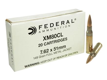 Federal Ammunition 7.62x51mm NATO 149 Grain XM80 Full Metal Jacket