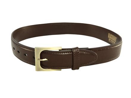 "BlackHawk CQC Pistol Belt 1-1/2"" Antique Brass Buckle Reinforced Brown Leather Gator Finish 28"""