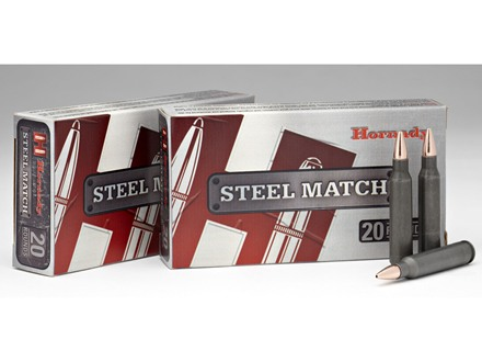 Hornady Steel Match Ammunition 223 Remington 52 Grain Boat Tail Hollow Point Steel Case Box of 20