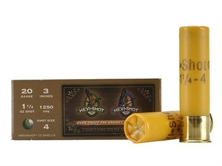 "Hevi-Shot Duck Waterfowl Ammunition 20 Gauge 3"" 1-1/4 oz #4 Non-Toxic Shot"