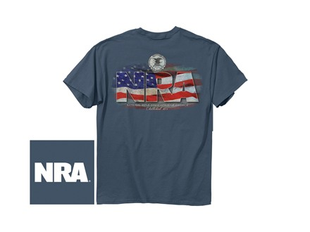 NRA Men's Flag Logo T-Shirt Short Sleeve Cotton Indigo Medium