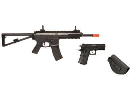 Crosman Airsoft Elite Defender Airsoft Rifle and Pistol Kit 6mm Spring/Electric Select Fire Polymer Stock Black