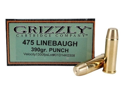 Grizzly Ammunition 475 Linebaugh 390 Grain PUNCH Box of 20