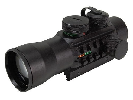 TRUGLO Xtreme Red Dot Sight 42mm Tube 2x Red and Green 4-Pattern Reticle (10 MOA Dot, Crosshair with 1.5 MOA Peep, 3 MOA Center Dot, Crosshair) with Integral Weaver-Style Base