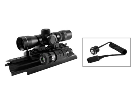NcStar The Liberator Combo 4x 30mm Illuminated P4 Reticle Scope with Rings, AK-47 Tri-Rail Mount and Green Laser Matte