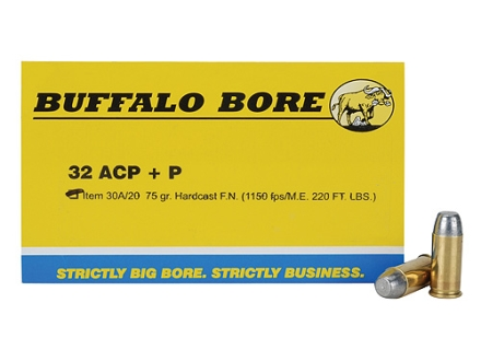 Buffalo Bore Ammunition 32 ACP +P 75 Grain Hard Cast Flat Nose Box of 20
