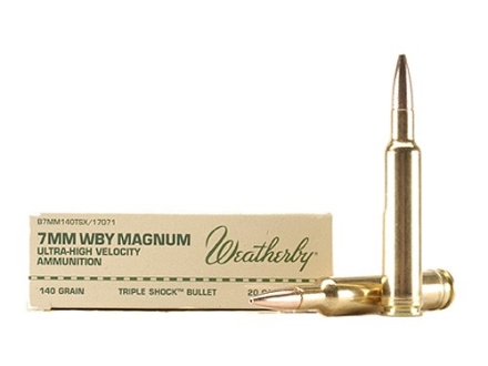 Weatherby Ammunition 7mm Weatherby Magnum 140 Grain Barnes Triple-Shock X Bullet Hollow Point Lead-Free Box of 20