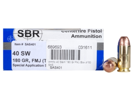 SBR Special Application Subsonic (SAS) Ammunition 40 S&W 180 Grain Full Metal Jacket Box of 50