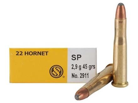 Sellier & Bellot Ammunition 22 Hornet 45 Grain Soft Point Box of 20