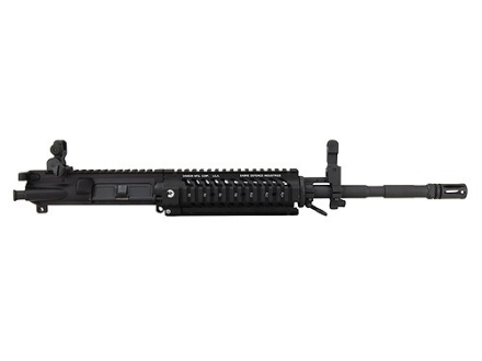 "Sabre Defence AR-15 M4 Tactical Carbine Upper Assembly 5.56x45mm NATO 1 in 7"" Twist 16"" Barrel Chrome Lined Vanadium Alloy Matte with Quad Rail Free Float Handguard, Flip-Up Sights, Flash Hider Pre-Ba"