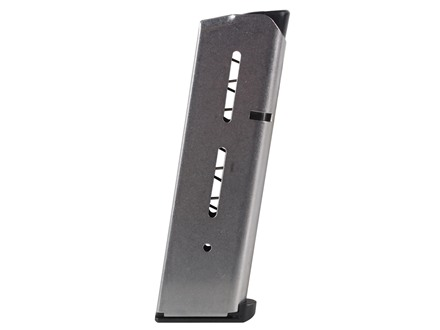 Wilson Combat Magazine with Low Profile Steel Base Pad 1911 Government, Commander 45 ACP 8-Round Stainless Steel