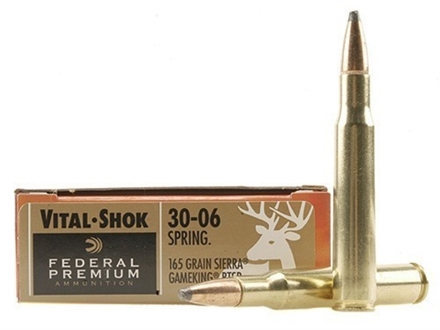 Federal Premium Vital-Shok Ammunition 30-06 Springfield 165 Grain Sierra GameKing Soft Point Boat Tail Box of 20