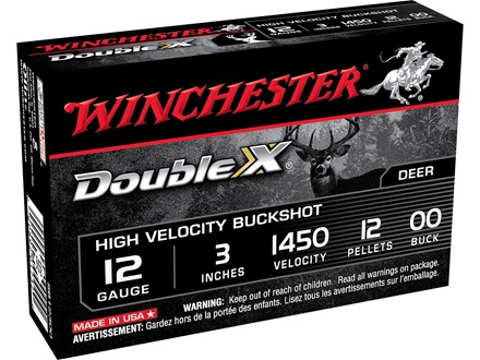 "Winchester Double X Magnum Ammunition 12 Gauge 3"" Buffered 00 Copper Plated Buckshot 12 Pellets"