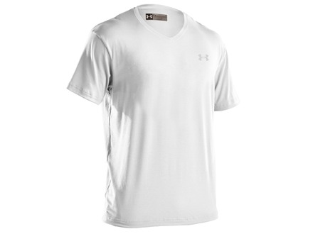 Under Armour Men's Charged Cotton V-Neck Undershirt Short Sleeve Cotton Blend White Medium 38-40