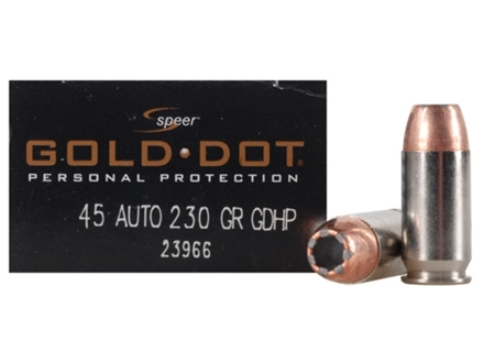 Speer Gold Dot Ammunition 45 ACP 230 Grain Jacketed Hollow Point Box of 20