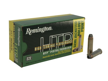 Remington High Terminal Performance Ammunition 357 Magnum 158 Grain Semi-Jacketed Hollow Point Box of 50