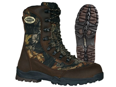 """LaCrosse Silencer HD 8"""" Waterproof 800 Gram Insulated Hunting Boots Nylon Mossy Oak Break-Up Camo Men's 7 D"""