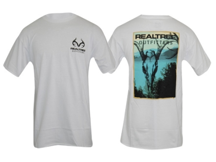 Realtree Outfitters Men's Skull T-Shirt Short Sleeve Cotton White Medium 38-41