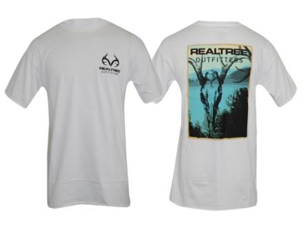 Realtree Outfitters Men's Skull T-Shirt Short Sleeve Cotton White Medium 38-41