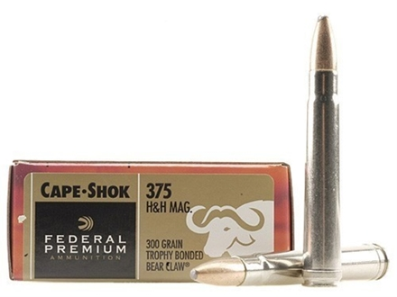Federal Premium Cape-Shok Ammunition 375 H&H Magnum 300 Grain Speer Trophy Bonded Bear Claw Box of 20