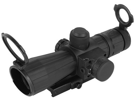NcStar Mark 3 Tactical Rifle Scope 4x 32mm Blue Illuminated Mil-Dot Reticle Matte with Red Laser and Quick Release Weaver-Style Base Rubber Armored Matte