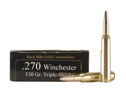 Black Hills Gold Ammunition 270 Winchester 130 Grain Barnes Triple-Shock X Bullets Hollow Point Flat Base Lead-Free Box of 20