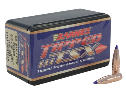 Barnes Tipped Triple-Shock X Bullets 264 Caliber, 6.5mm (264 Diameter) 100 Grain Spitzer Boat Tail Lead-Free Box of 50
