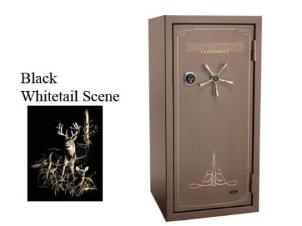 Browning Medallion M28F Fire-Resistant Safe 11/22 +7 Duo Plus Gloss Black with Tan Interior and Whitetail Scene