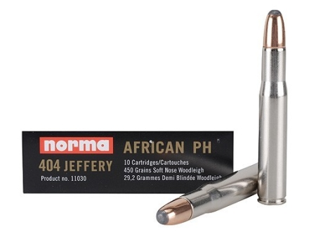 Norma African PH Ammunition 404 Jeffery 450 Grain Woodleigh Weldcore Soft Nose Box of 10