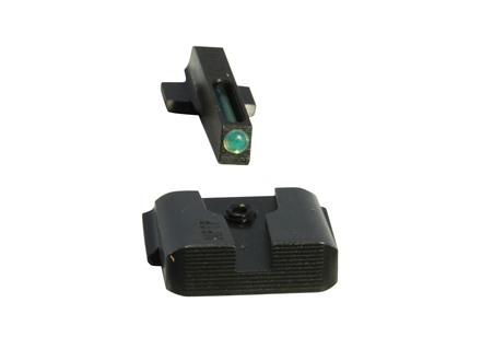 TRUGLO TFO Practical-Tactical Sight Set S&W M&P 9, M&P 40 Serrated Black Rear, Green Tritium and Fiber Optic  Front  Steel