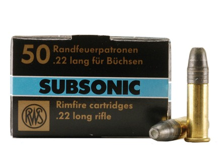 RWS Subsonic Ammunition 22 Long Rifle 40 Grain Lead Hollow Point Box of 500 (10 Boxes of 50)
