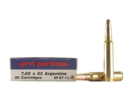 Prvi Partizan Ammunition 7.65mm Argentine Mauser 180 Grain Soft Point Box of 20